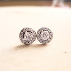 Diamond Halo Stud Earrings - LEL JEWELRY