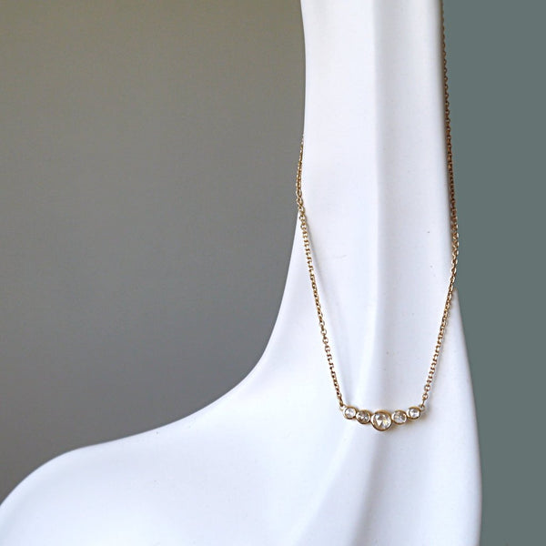 Five Rose cut Diamond Necklace