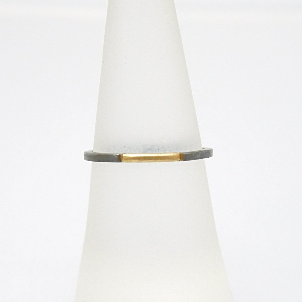 Delicate Gold and Oxidized silver band - LEL JEWELRY