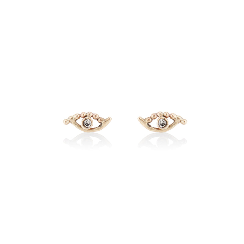 'Golden eye' beaded stud earrings - LEL JEWELRY