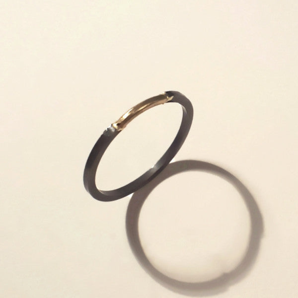 Delicate Gold and Oxidized silver band - LEL JEWELRY  - 2