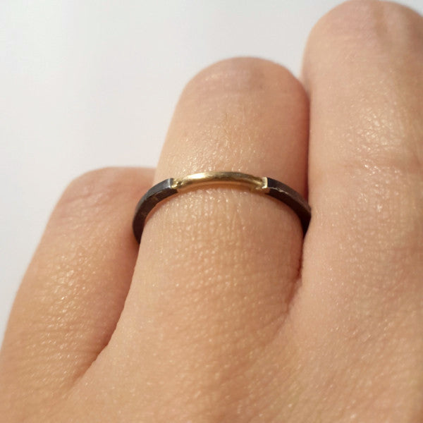 Delicate Gold and Oxidized silver band - LEL JEWELRY  - 1