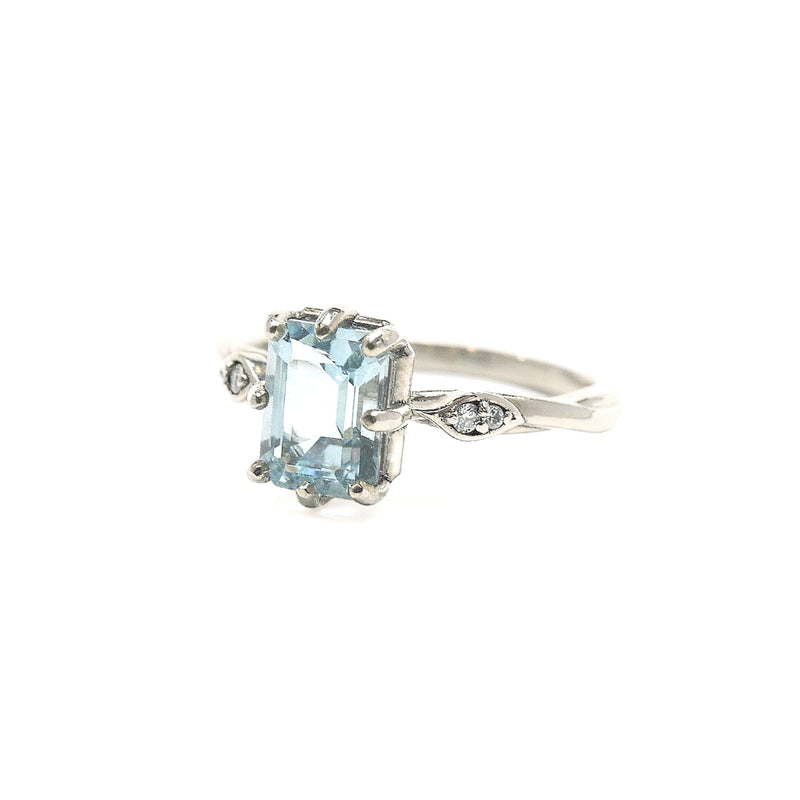 'Heather' Blue Topaz and Diamond Leaf Ring