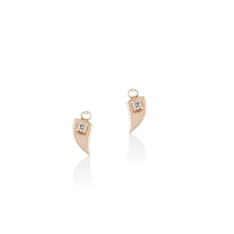 'Horn' gold champagne diamond stud earrings - LEL JEWELRY