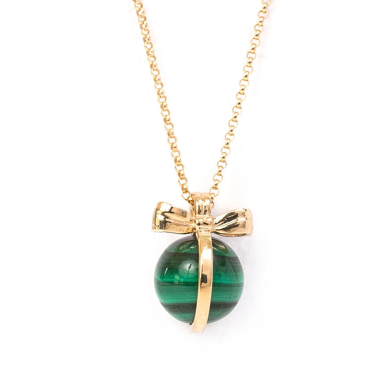 Put a Bow on it Malachite Gold Necklace