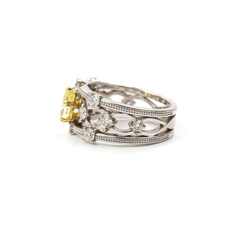 'Lattice' Pear Yellow Diamond Ring