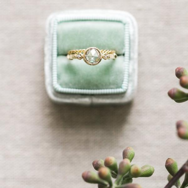 'Rose Vine' Rose Cut Yellow gold Ring