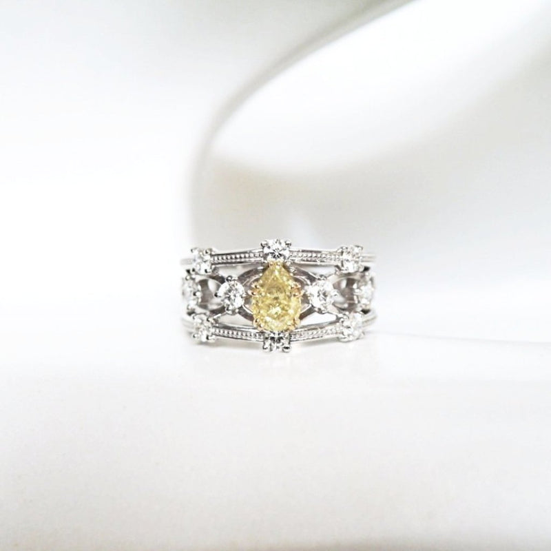 'Lattice' Wide Yellow Diamond Ring - LEL JEWELRY