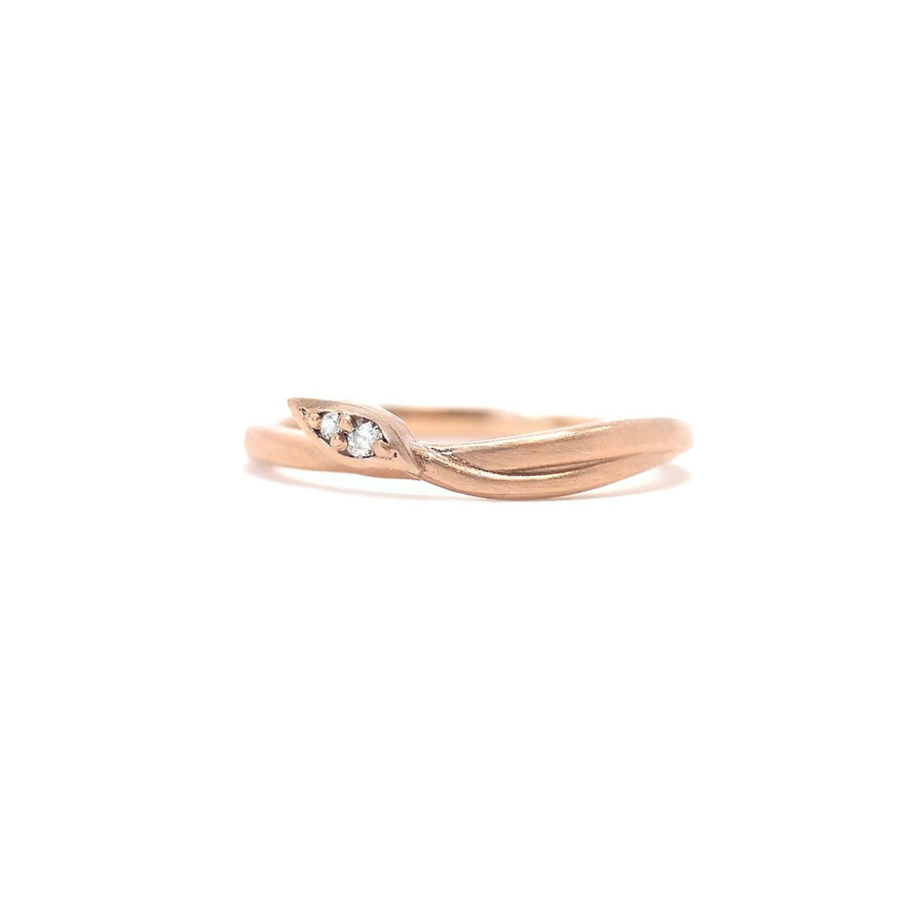 Leaf Wrap Double Diamond Rose gold