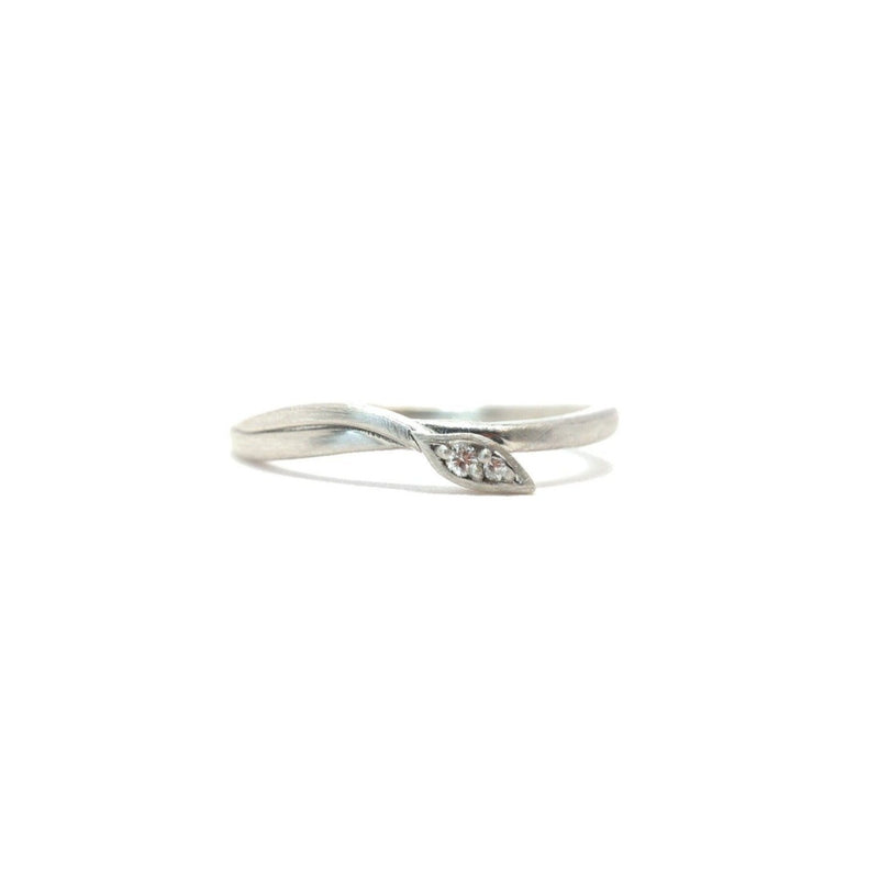 Leaf Wrap Double Diamond Ring Silver