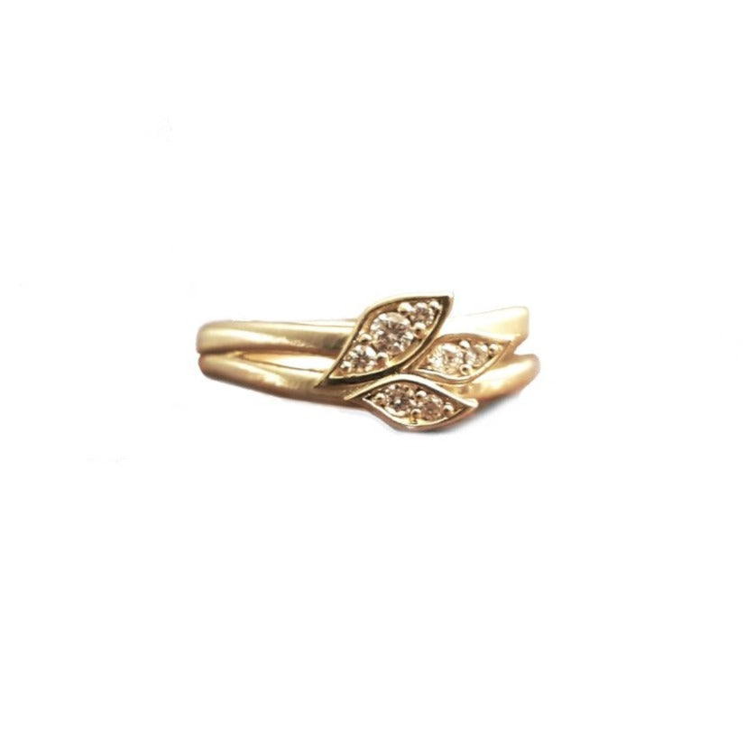 Leaf and Branch Diamond Gold Ring