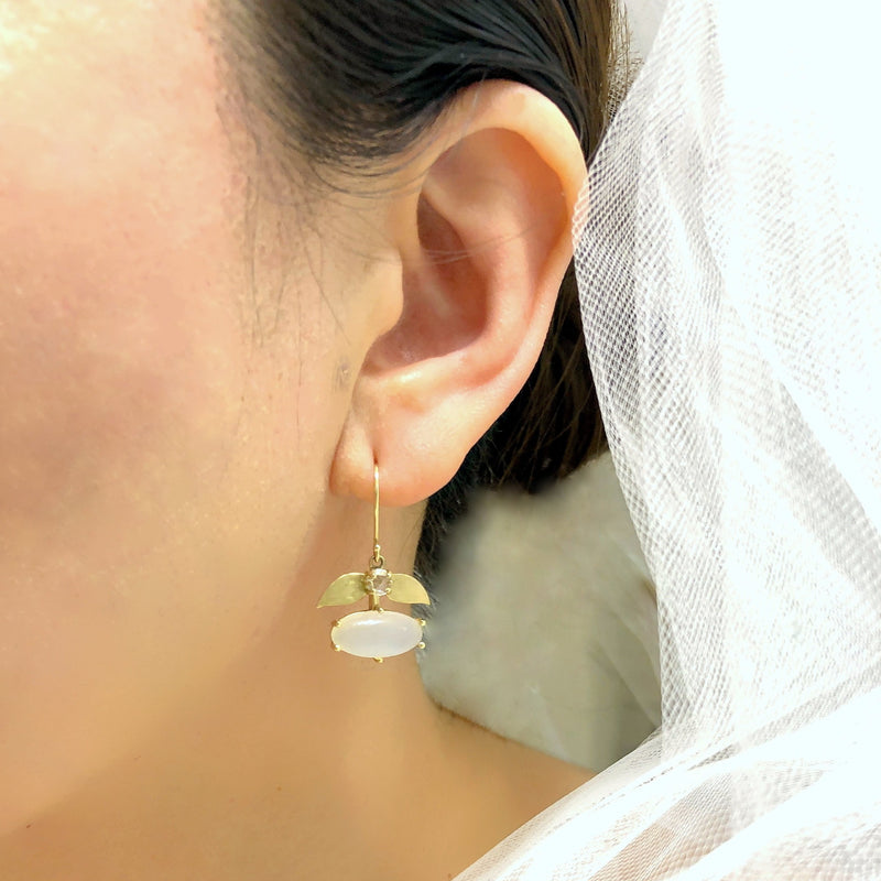 Moonstone Laurel Gold Earrings