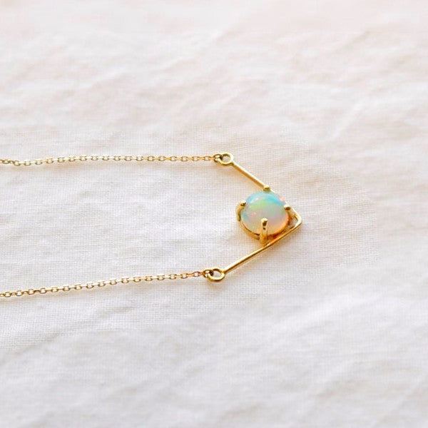 V Opal Necklace - LEL JEWELRY  - 2