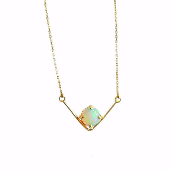 V Opal Necklace - LEL JEWELRY  - 1