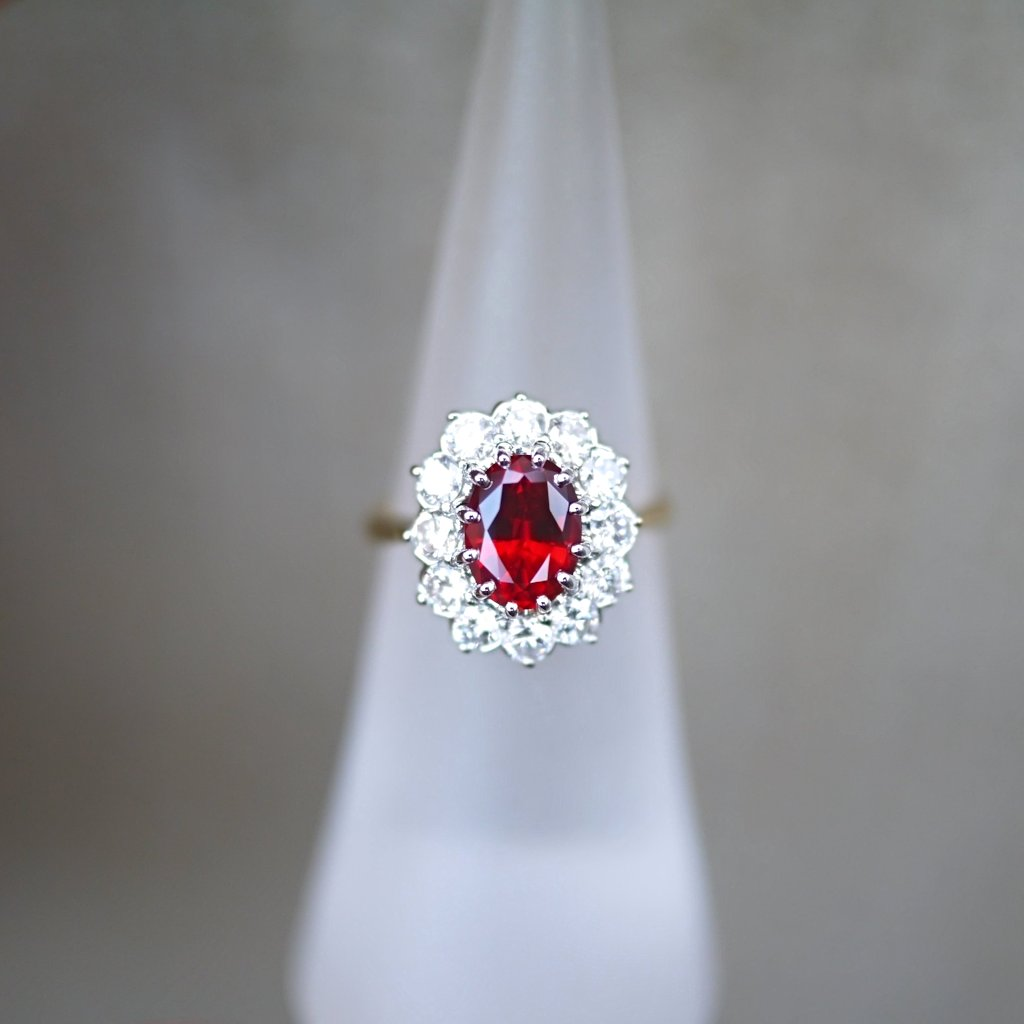 Oval Ruby Diamond Halo Ring - LEL JEWELRY
