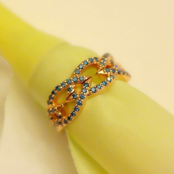 A Set of Blue diamond Crown Stacking Bands