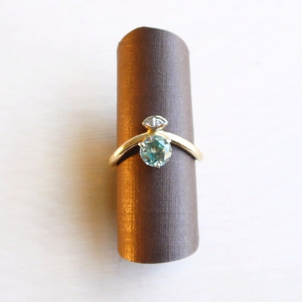Two-tone Middle Finger Ring with Blue Zircon & Marquise Diamond - LEL JEWELRY