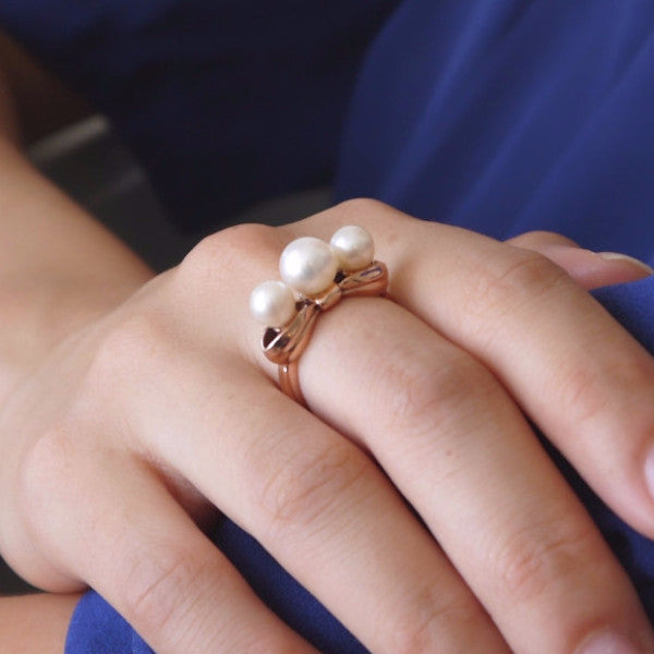 Gold Bow Ring with Three Pearls