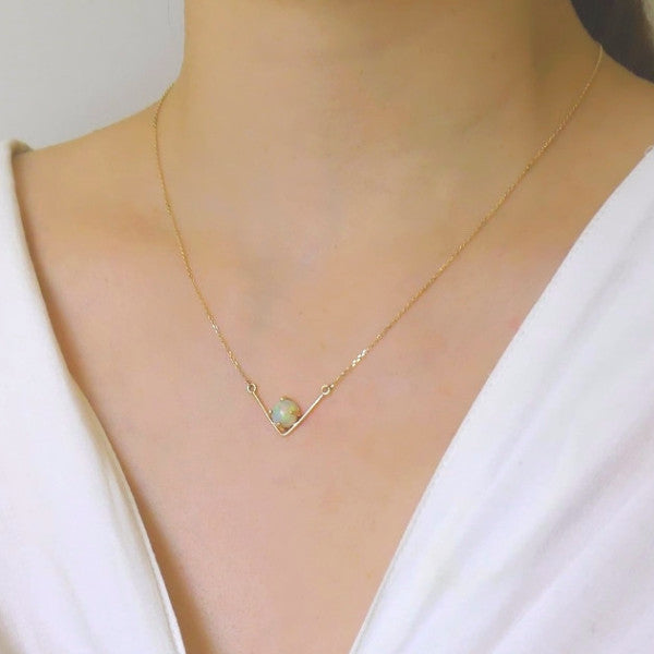 V Opal Necklace - LEL JEWELRY  - 3