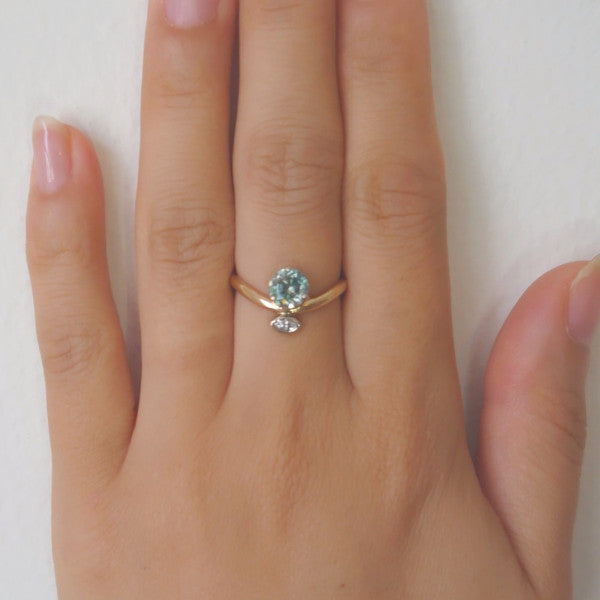 ... Two Tone Middle Finger Ring With Blue Zircon U0026 Marquise Diamond   LEL  JEWELRY