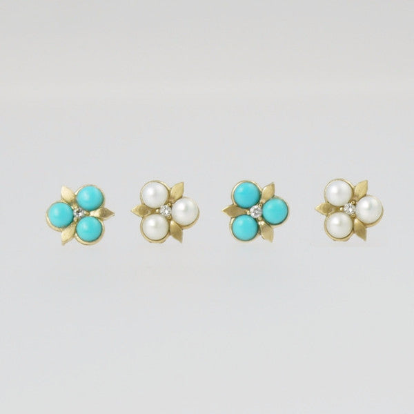 Trillium Flower Gold Studs - LEL JEWELRY