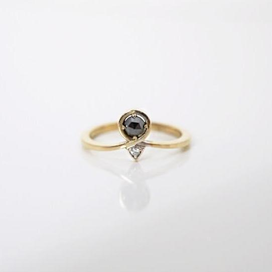 'Passage' Mini Black Diamond Ring - LEL JEWELRY  - 1