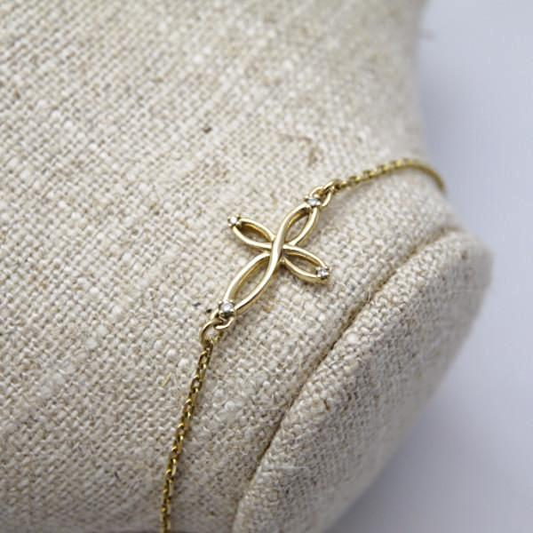Infinite Cross Gold Bracelet - LEL JEWELRY  - 1