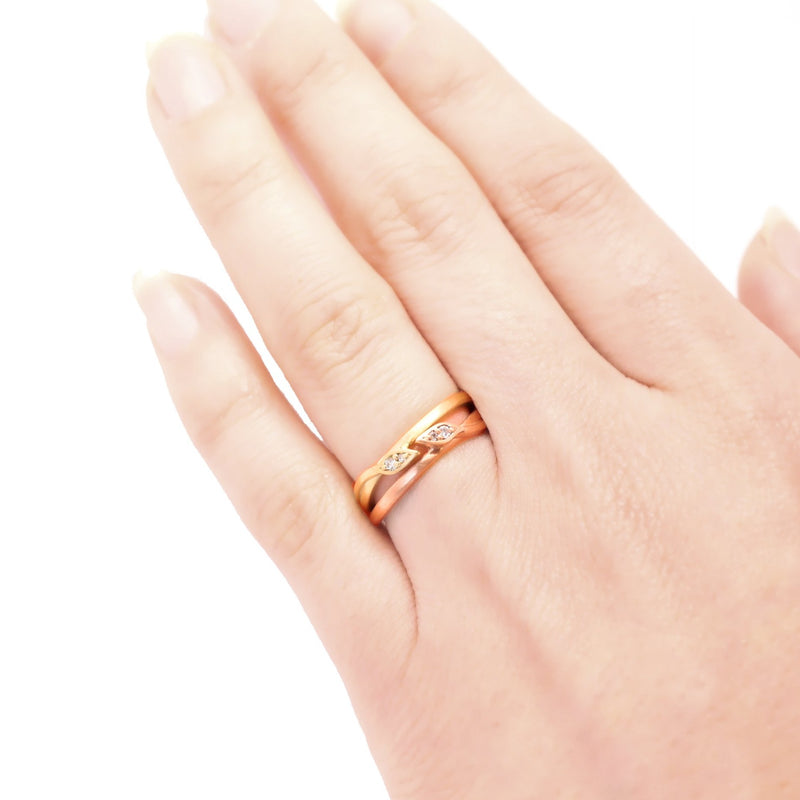 Leaf Wrap Double Diamond Ring Rose Gold