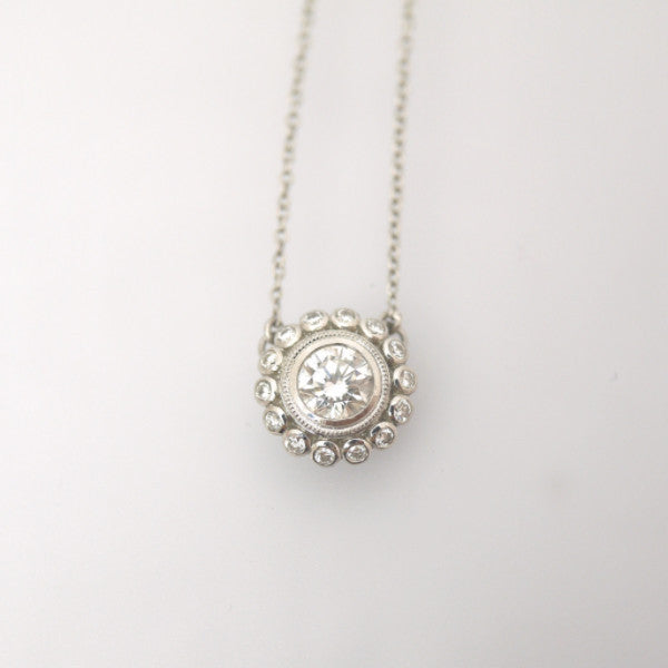 Platinum Flower Diamond Necklace - LEL JEWELRY