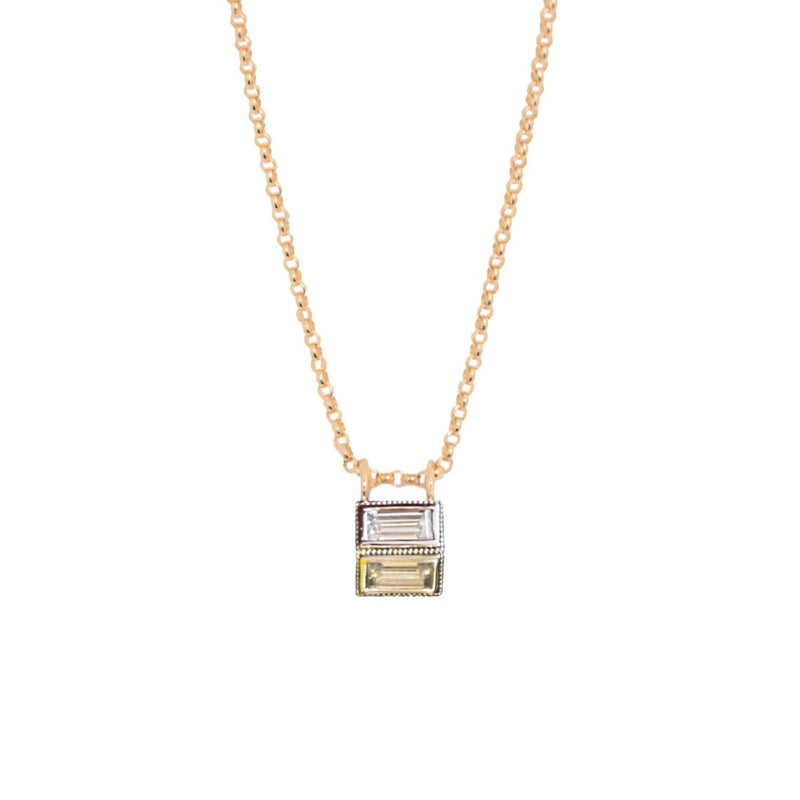 Reflection Baguette Moissanite Two tone Gold Necklace