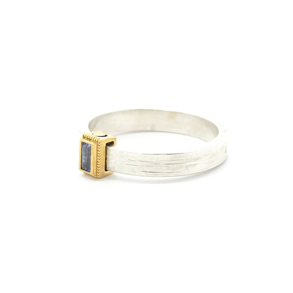 Rev Two Tone Gold Rustic Rolling Ring