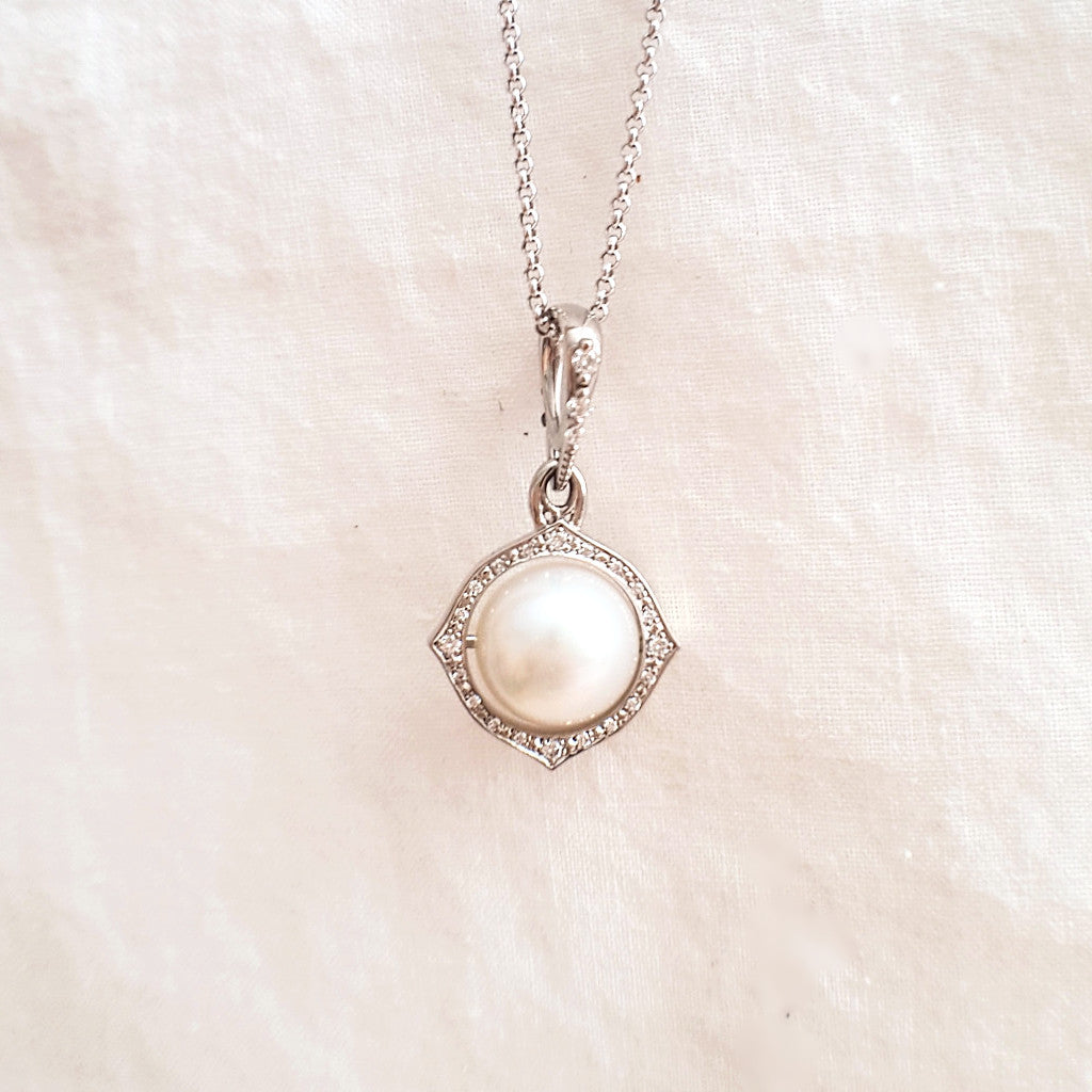 Reversible Diamond Pearl Pendant - LEL JEWELRY