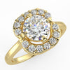 Cushion Round Diamond Halo Ring