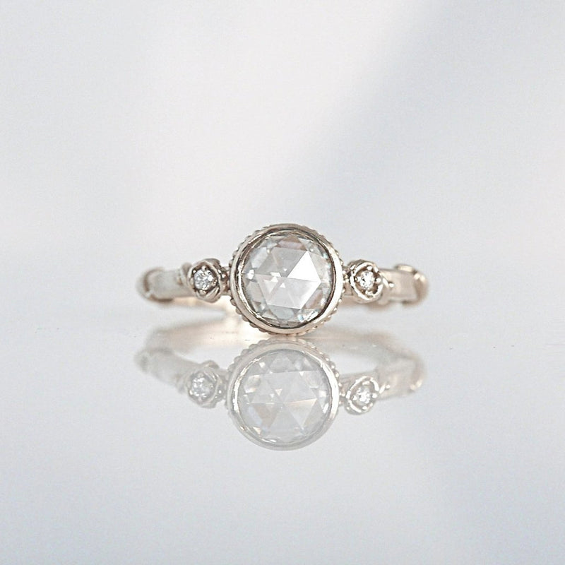 'Rose Vine' Rose Cut Diamond White gold Ring - LEL JEWELRY