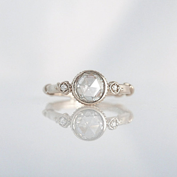 'Rose Vine' Rose Cut Diamond White gold Ring