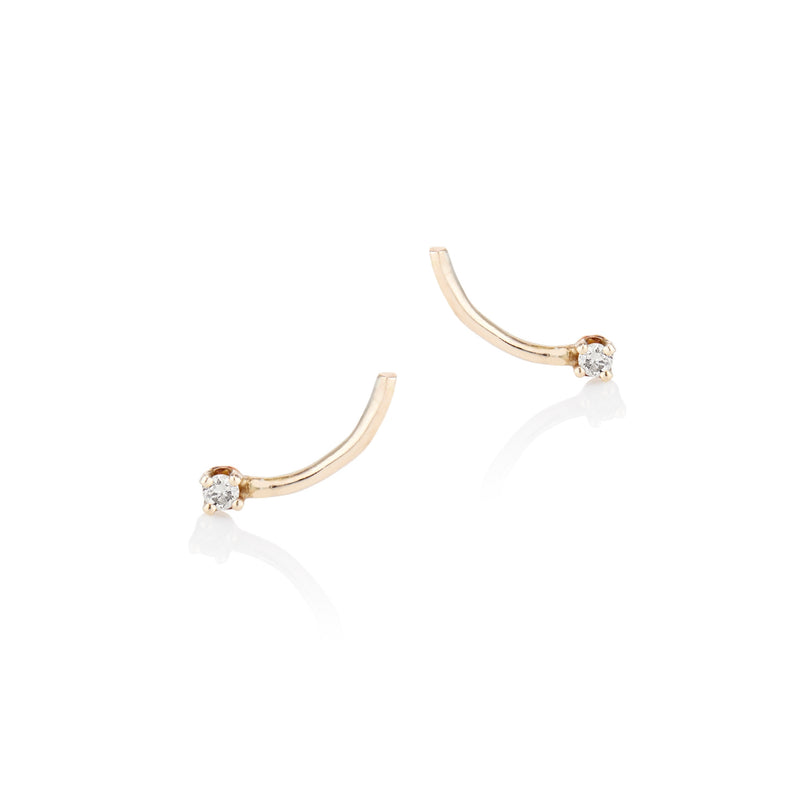 'Shooting Star' Champagne Diamond Stud earrings - LEL JEWELRY