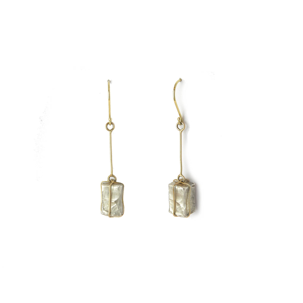 Raw and Refined Silver and gold Earrings