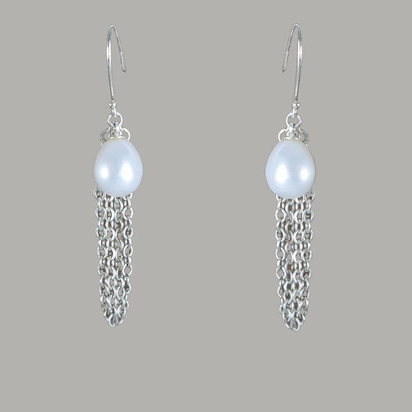 Fringe Silver Pearl Earrings