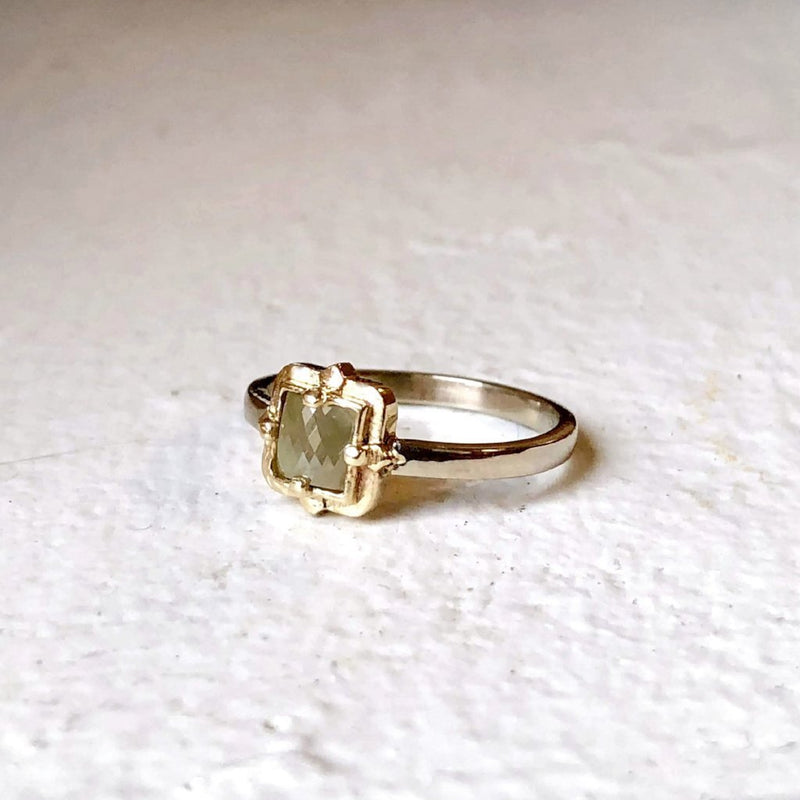 Square Rustic Diamond Ring - LEL JEWELRY