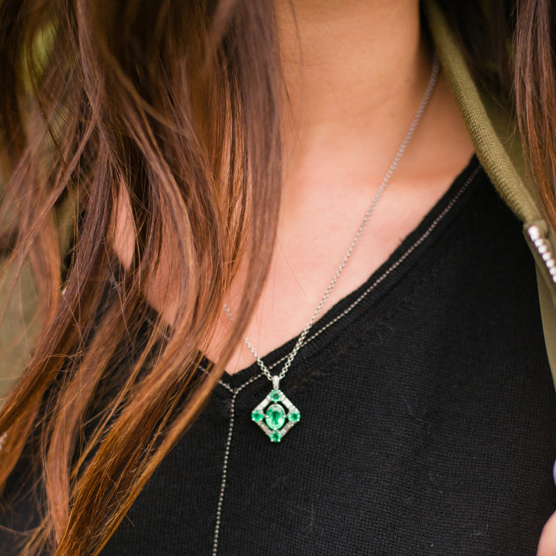 Deco Emerald and Diamond Pendant