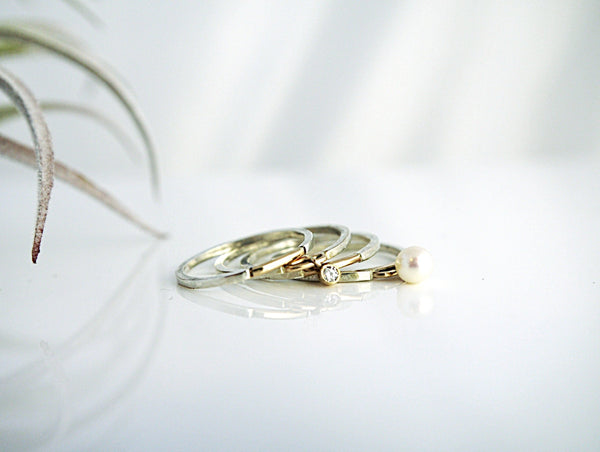 Golden Bridge Stacking Dangle Ring Set