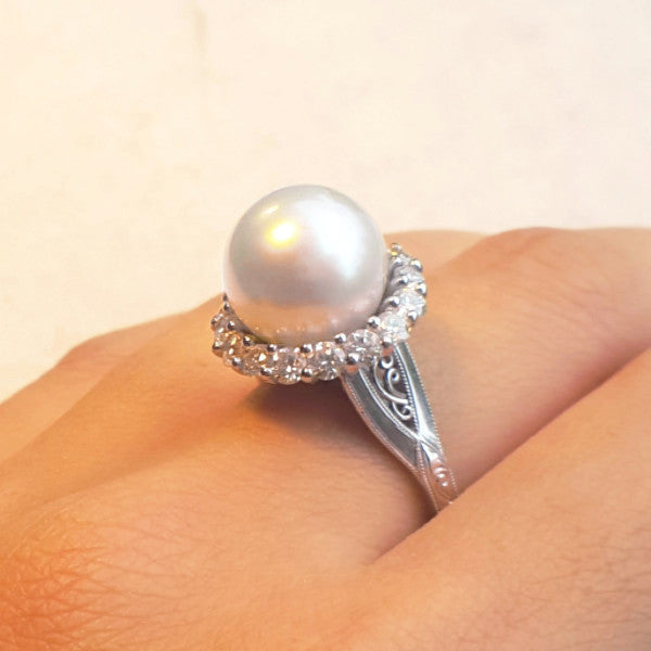 Diamond and South Sea Pearl Ring