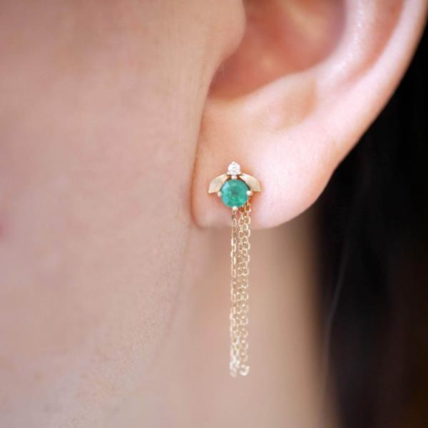 'Laurel' Emerald and diamond Stud earrings