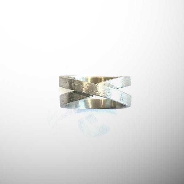 'X' Crossover Silver Ring