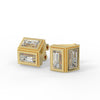 Deco Mirror Baguette Moissanite Stud Earrings