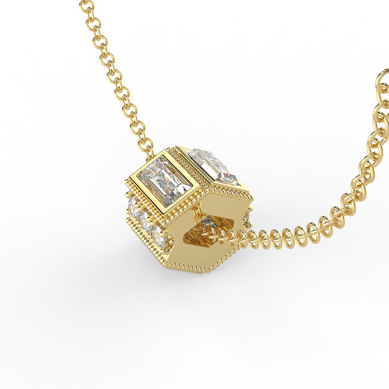Deco Baguette Moissanite and Diamond Gold Necklace