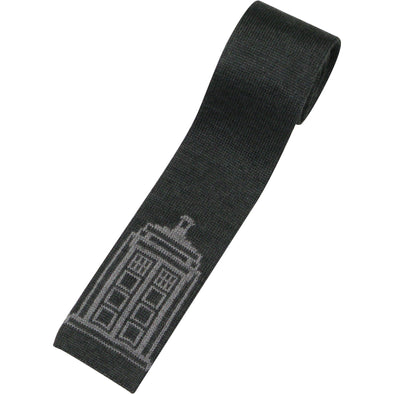 Doctor Who Tie - Grey TARDIS Knitted Ties - Dr Who Gifts for Men