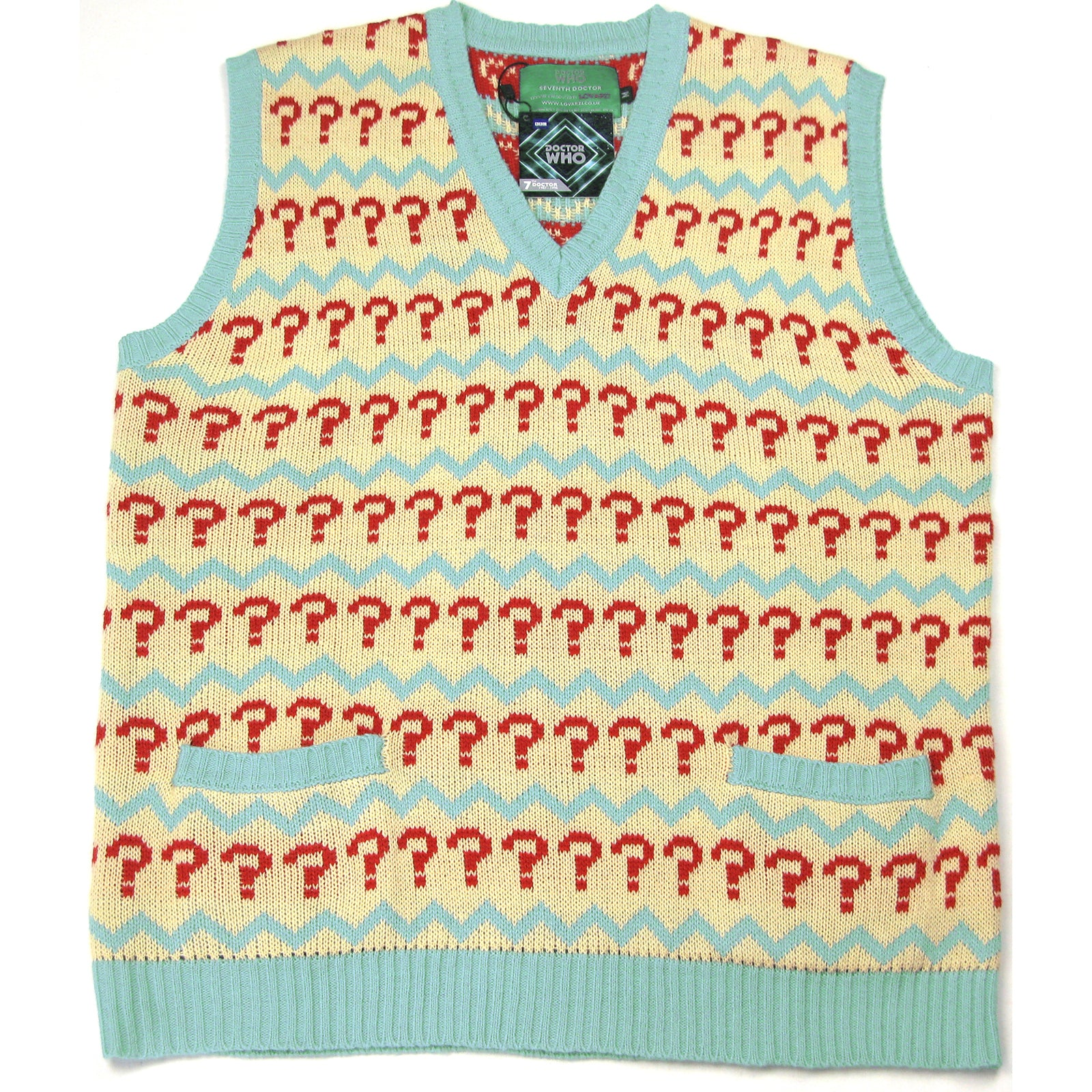47583c94607 Seventh Doctor Jumper - Doctor Who 7th Doctor (Sylvester McCoy) Question  Mark Tank Top Sweater -