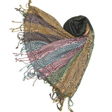 Paisley Scarf with Reversible Stripe