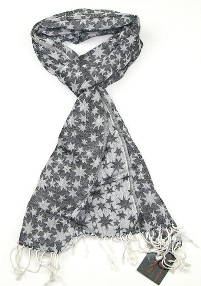 Long Cotton Scarf with Star Design